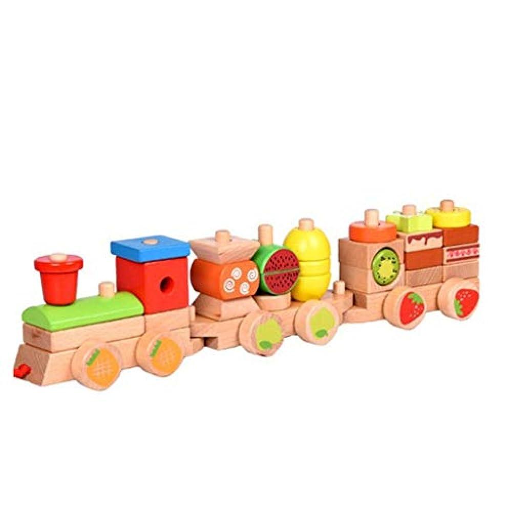 過言センターピットフルーツは3-6歳の子供の親子ゲームに適した、パズルのビルディングブロックを組み立てるために、小さな電車をドラッグ (色 : Multi-colored)