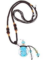 Perfeclan 香水ネックレス ミニ ガラス ロケット ペンダント エッセンシャルオイル ディフューザー 3色選べ - 青
