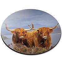 ラウンドマウスマット - ブラウンハイランド牛ScotlandOfficeギフト - RM16313