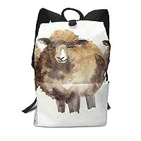 スクールバッグ水彩かわいい羊バックパック男性と女性のバックパック大容量学生のバックパック防水トラベルバッグ