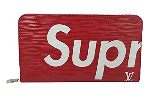 シュプリーム Supreme × ルイヴィトン  コラボ  メンズ 長財布 ファスナー付 (レッド)