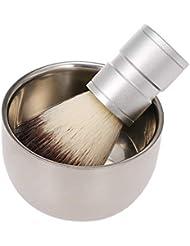 Decdeal 男性のシェービングブラシ付き石鹸ボウルクリームマグ理髪店サロン男性顔ひげクリーニングツールセット
