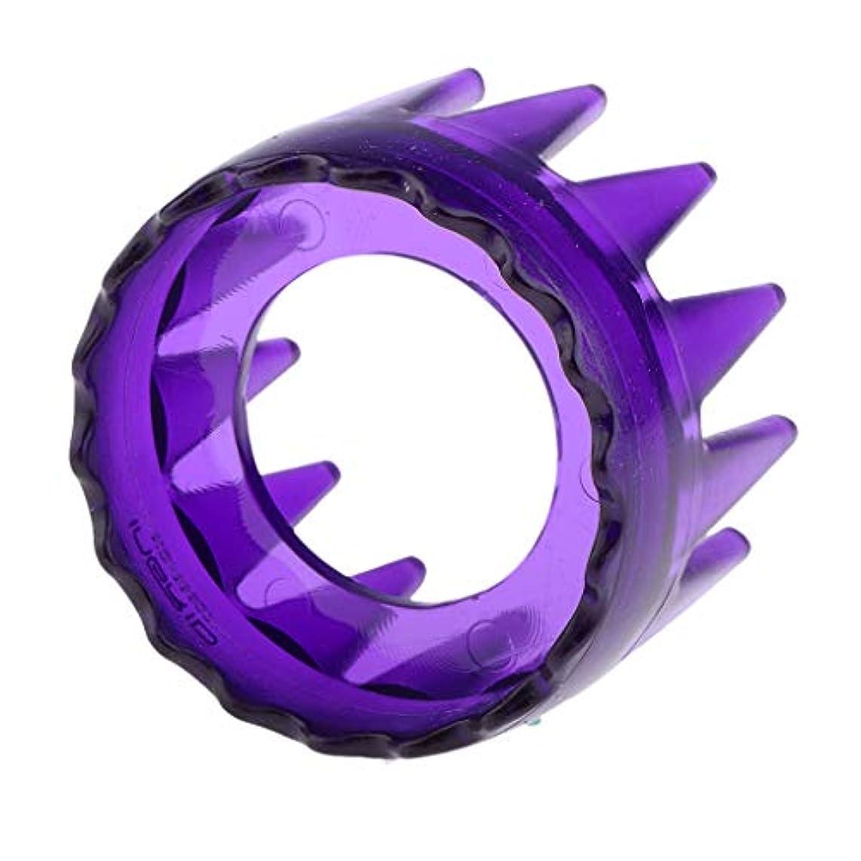 再発する兵器庫硬さシャンプーブラシ 洗髪櫛 マッサージャー ヘアコーム ヘアブラシ 滑り止め 快適 リラックス 全4色 - 紫