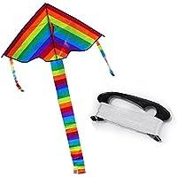 2個レインボーLong Tail三角形ナイロンカイトハンドルラインGentle Breezeフライとリーズナブルな価格Healthy材質印刷