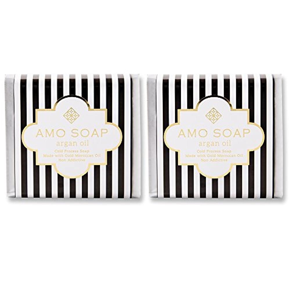 規範祝うこどもセンターAMO SOAP(アモソープ) 洗顔せっけんアルガンオイル配合 2個 コールドプロセス製法 日本製 エイジングケア オリーブオイル シアバター