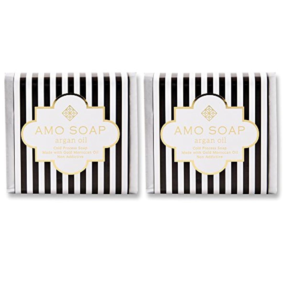 冊子遺棄された大臣AMO SOAP(アモソープ) 洗顔せっけんアルガンオイル配合 2個 コールドプロセス製法 日本製 エイジングケア オリーブオイル シアバター