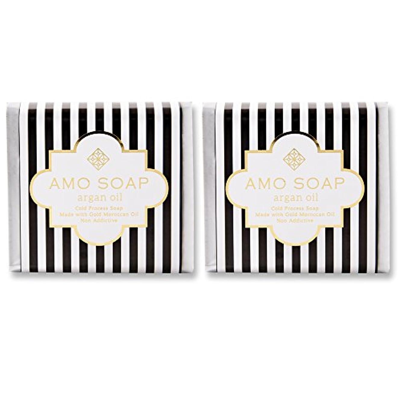 AMO SOAP(アモソープ) 洗顔せっけんアルガンオイル配合 2個 コールドプロセス製法 日本製 エイジングケア オリーブオイル シアバター