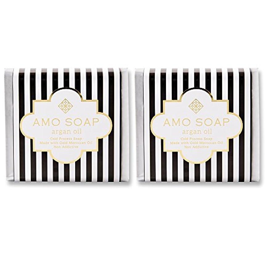 太い名声医学AMO SOAP(アモソープ) 洗顔せっけんアルガンオイル配合 2個 コールドプロセス製法 日本製 エイジングケア オリーブオイル シアバター