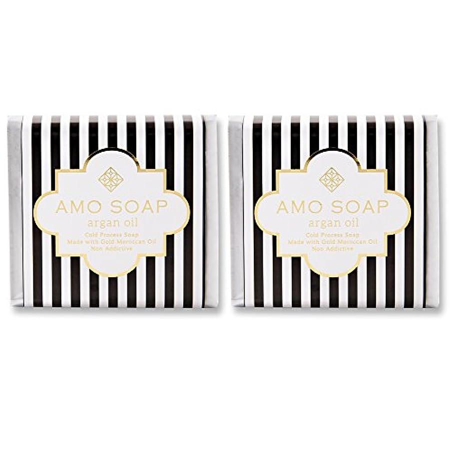 カウンターパート排他的パンサーAMO SOAP(アモソープ) 洗顔せっけんアルガンオイル配合 2個 コールドプロセス製法 日本製 エイジングケア オリーブオイル シアバター