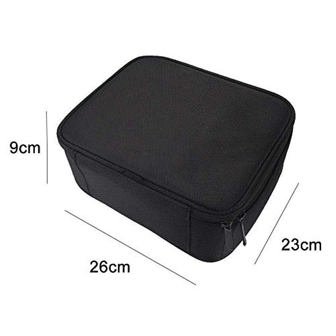 手段自治川高品質 收納抜群 大容量 化粧バッグ 置き方が調整できる 旅行 家用に大活躍な化粧箱 (黑)