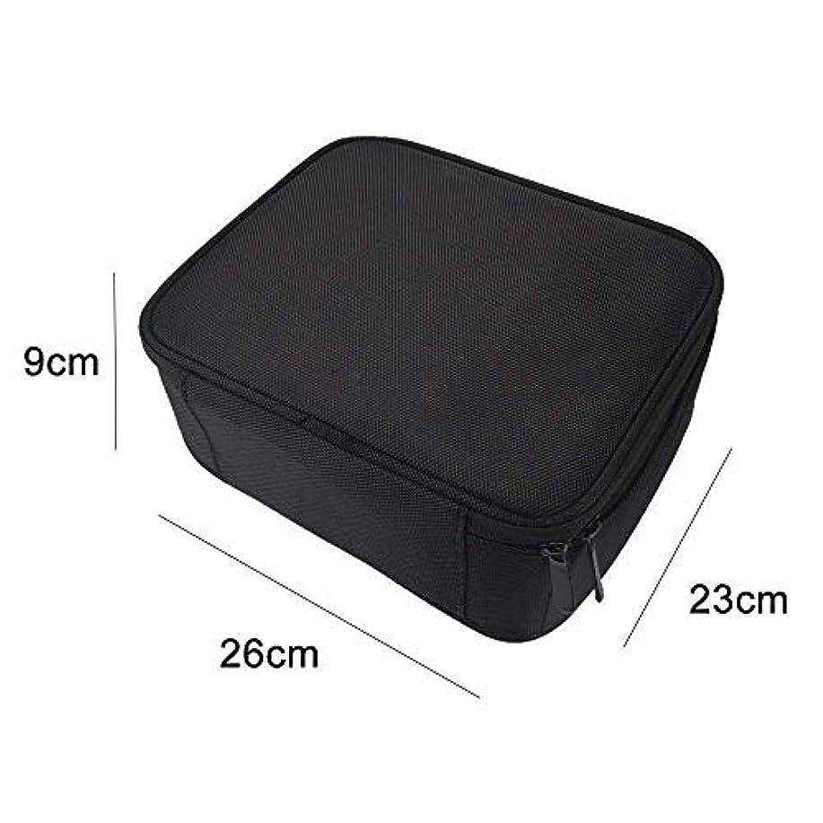 横向き口述する弁護高品質 收納抜群 大容量 化粧バッグ 置き方が調整できる 旅行 家用に大活躍な化粧箱 (黑)