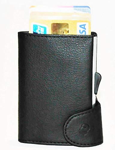 スキミング対策・RFID 二つ折り 財布 カードケース イタリアンレザー [超軽量/スリム/大収納/ワンタッチ/オランダ発デザイン]