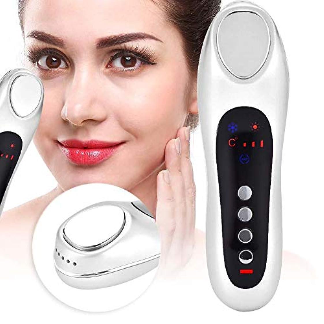 額フォームシソーラスLEDレッドライトスキンケアマッサージャー美容機器、フェイシャルクレンジング&ファーミングマッサージクレンジングのための審美的デバイス、若返り、スムース&ファームスキン(White)
