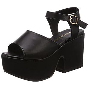 [ウィゴー] レディースファッションサンダル 厚底サンダル ブラック 24.5~25.0 cm