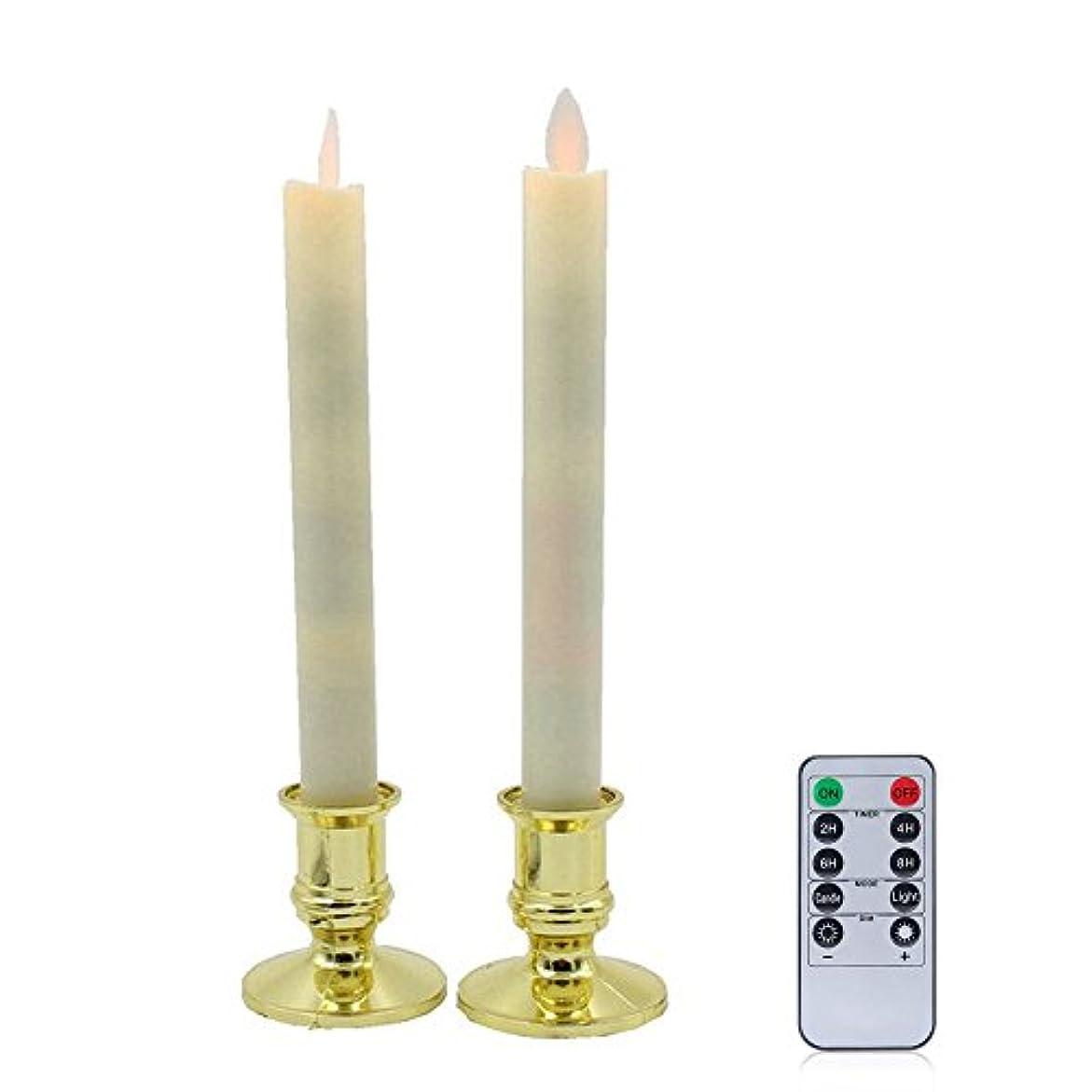 冗長に話す書道RUmfOテーパウィンドウFlameless Candles with Removableゴールドホルダー、電動ウィンドウキャンドルランプwithリモートタイマー電池式誕生日ウェディングホームパーティー装飾セットの2