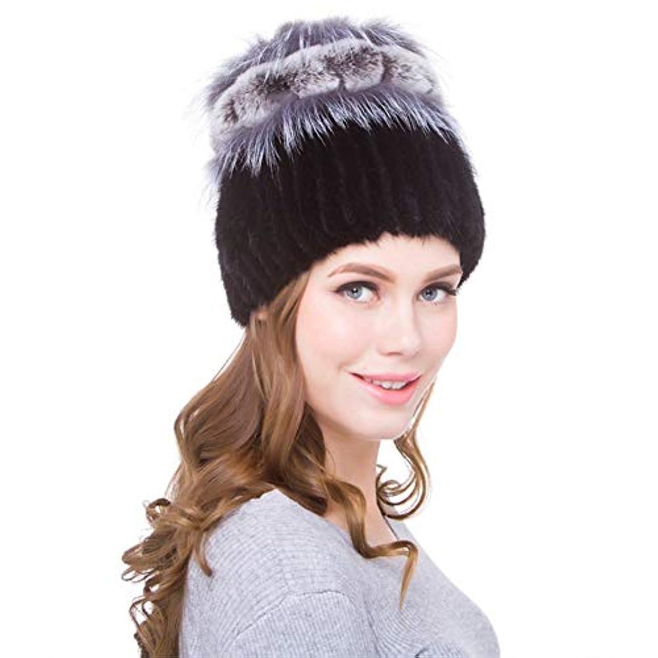 利得架空の証言ACAO さんさんミンク毛ニット革の帽子秋と冬のファッションのキツネの毛皮のウサギの毛皮の帽子の飾り (色 : ブラック, Size : S)