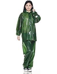 ZEMIN レインコート ポンチョ レインウェア スリッカー ウインドブレーカー 防水 カバー ユニセックス セット ズボン カラフル ポリエステル、 4色、 2サイズあり (色 : Ink green, サイズ さいず...