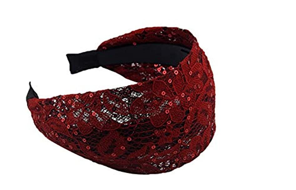 ディレクター遅れ元に戻すMINGTAI ウルトラワイドエッジヘアピンとアンチスリップアダルトヘッドバンドカバーホワイト髪レースのヘッドバンドティアラファブリックシンプルなヘアアクセサリー (Color : Red)