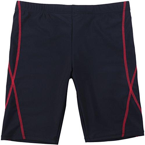 【Asbrio】水着 競泳 スクール ミドルスパッツ UPF50+ 撥水加工 80〜170cm (レッド, 120)