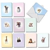 動物園の赤ちゃん:20枚詰め合わせのあらゆる機会に使えるグリーティングカード(ミニ4 x 5.12インチ)かわいいベビー動物園の動物、封筒付き AM6726OCB-B2x10