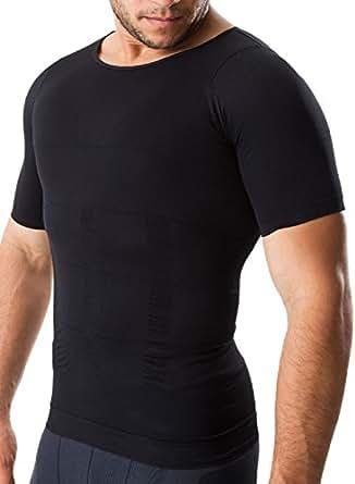 (InField) 加圧インナー 補正下着 姿勢矯正 ダイエット 着圧 コンプレッションウェア シャツ ブラック M