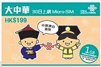 中国 プリペイド SIM China Unicom 大中華 30日間 3G 高速定額デー 通信!【中国・香港・台湾・マカオ】