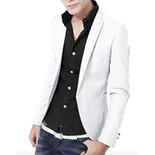 (シャンディニー) Chandeny おしゃれ テーラード ジャケット スーツ シンプル ブルゾン 無地 スリム 結婚式 13070 ホワイト L サイズ