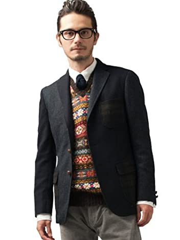 Crazy Tweed Jacket 3122-186-0398: Navy