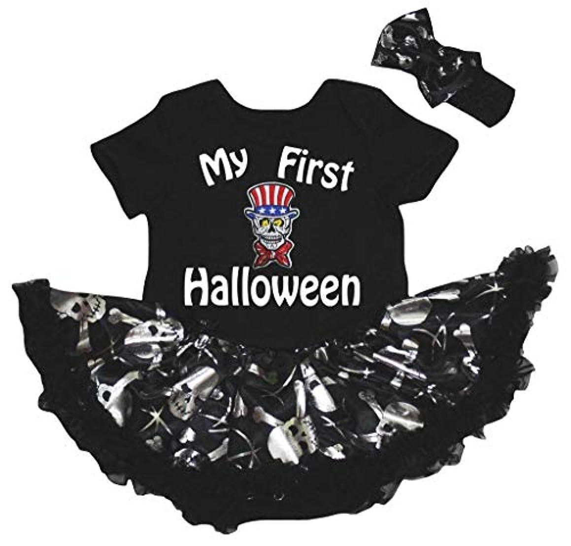 最もがんばり続けるボア[キッズコーナー] ハロウィン My First Halloween シルバースカル 子供ボディスーツ、子供のチュチュ、ベビー服、女の子のワンピースドレス Nb-18m (ブラック, Small) [並行輸入品]