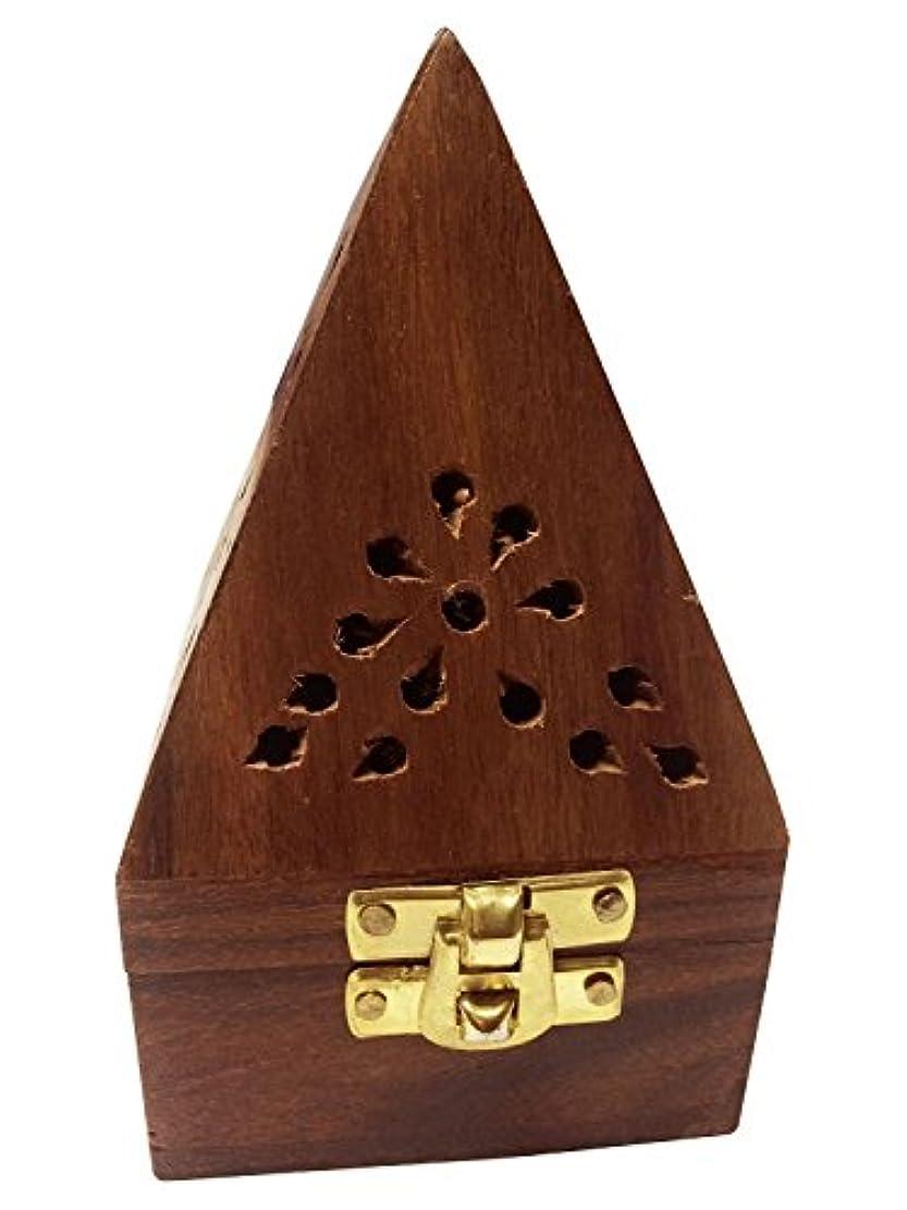 戻る売る病んでいるクリスマス感謝祭ギフト、7インチ木製クラシックピラミッドスタイルBurner ( Dhoopホルダー) with Base正方形とトップ円錐形状、木製香炉ボックス、木製チャコール/円錐Burner