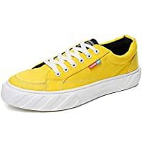 AUCDK Men Canvas Casual Sneakers Lightweight Plate Shoes Breathable Sneakers Summer Trainer
