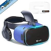 改善版 VeeR 3D VRゴーグル ヘッドホン VRゲーム 4.7~6.3インチ iOSアンドロイド iPhonex 6/7/8 plus HUAWEI Xperiaなど 全スマホ機種対応 VRゴーグル用マスク10枚入付属 家族と共有でき 画質アップ