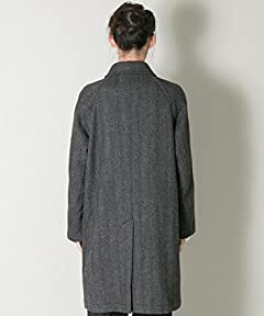 Lovat Herringbone Tweed Raglan Coat UR77-17M006: Grey