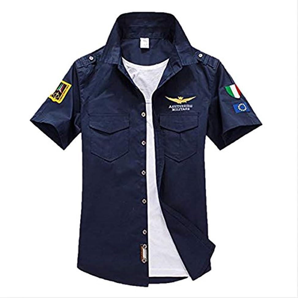 テント狂った不確実Gawan ミリタリーシャツ メンズ 半袖 シャツ 夏服 カジュアル MA-1 刺繍 アウター ミリタリー シャツ 襟付き カジュアルシャツ 大きいサイズ