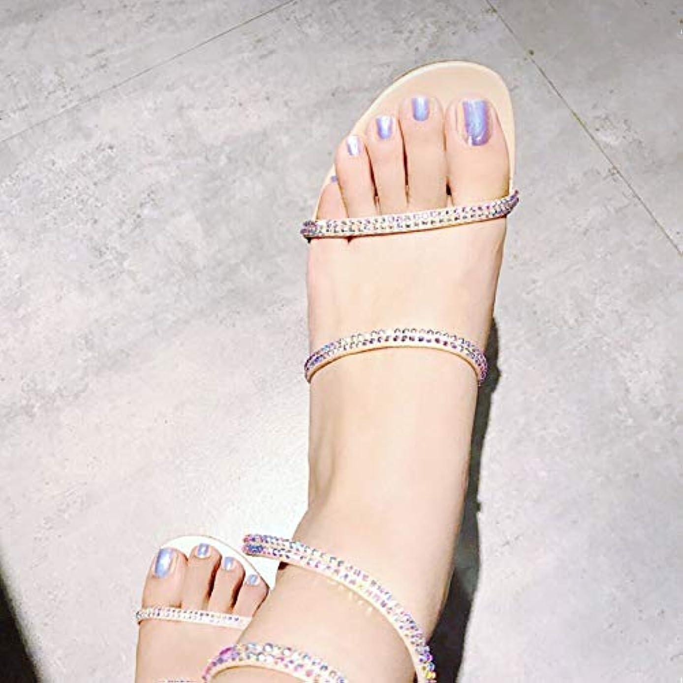 ゼリーホイットニー強制的足用24枚 純色 真珠光沢ネイルチップ 金属光の付け爪 手作りネイルチップ ネイルジュエリー つけ爪 シンプル 両面接着テープ付き 結婚式、パーティー、二次会など