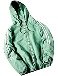 gawaga メンズ長袖ストライプジップアップパーカージャケット軽量