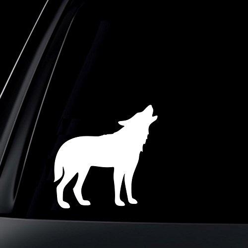 "AK壁アートHowling Wolfビニールデカール–選択サイズ (C) Large: 12"" ホワイト CV1072_White_12"""