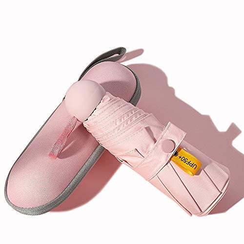 VASLON ミニ傘 軽量 折りたたみ傘 持ち運びが簡単 手動開閉 8本骨 高強度グラスファイバー 日傘 UVカット率99.9% 晴雨兼用 (ピンク)