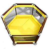BSNOWF-ベビーサークル 黄色の遊び場屋内屋外の子供コンパクトな安全性のあるプレイセンターヤード折りたたみ可能な茶色の幼児のフェンス