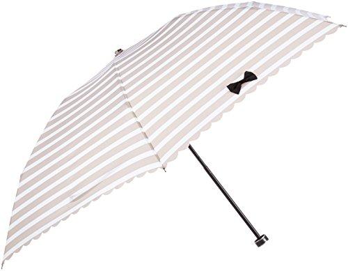 (ランバン オン ブルー)LANVIN en Bleu 婦人折りたたみ傘 軽量 ボーダー×ワンポイントリボン 21-084-52110-02 21-55 ベージュ 親骨の長さ 55cm