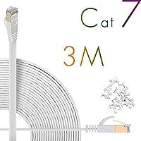Cat7 LANケーブル 3m ホワイト,イーサネットケーブル カテゴリー7 [Hanyun®一年間保証] 10Gbps/600MHz ウルトラフラットケーブル 高速 STP 爪折れ防止 for PS4 Xbox モデム ルータ RJ45 金メッキコネクタ