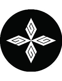家紋シール 四つ稲妻菱紋 布タイプ 直径40mm 6枚セット NS4-1641