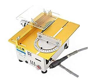 Huanyu SJT5 卓上糸鋸盤 防塵 丸鋸盤 切断厚さ26-29MM 把持径0.6-9MM 金属/木材/基板/プラスチック ブレード・変速電源付き (金)
