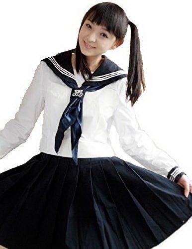 セーラー服長袖 コスチューム 白×紺 レディース Lサイズ
