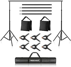 Neewer 2x3m背景背景スタンド 写真撮影背景スタンド 調節可能な背景スタンド クロスバー、背景クランプ、サンドバッグ、キャリングバッグ付き スタジオ撮影とビデオ撮影に対応
