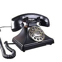 SLH 電話アメリカのレトロの固定電話ホームオフィスアンティークの電話ブラックメタルの回転電話