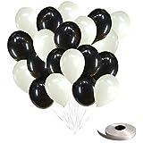 frontier 風船 パールバルーン デコレーション 100個セット 誕生日 飾りつけ おしゃれ (パールバルーン100個入り(ブラック×ホワイト))