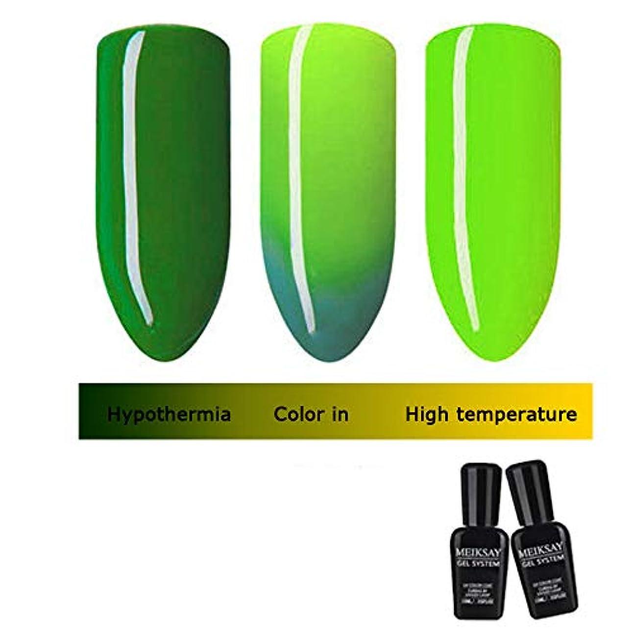 Lazayyii マニキュア サーモクロミック光線療法のり 熱温度変化色 ネイルラッカーUV LEDポリッシュゲル (B)