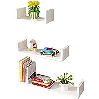 Super Kh® ウォールシェルフコーナーシェルフウォールマウントフローティングシェルフテレビ壁の壁装飾フレーム(DIYアセンブリ&Load20KG) * (色 : 白)