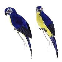Fityle 置物 オウム 人工鳥 現実的 9種選択 - 青(2個)